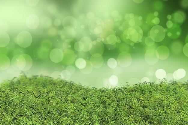 Grünes gras mit bokeh-effekt