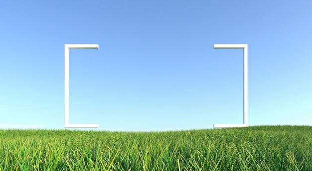 Grünes gras mit hintergrund des feldes und des blauen himmels