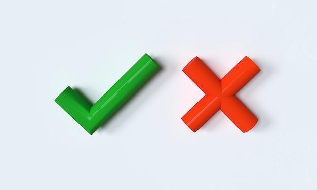 Grünes häkchen und rotes kreuz auf weißem hintergrund 3d-darstellung