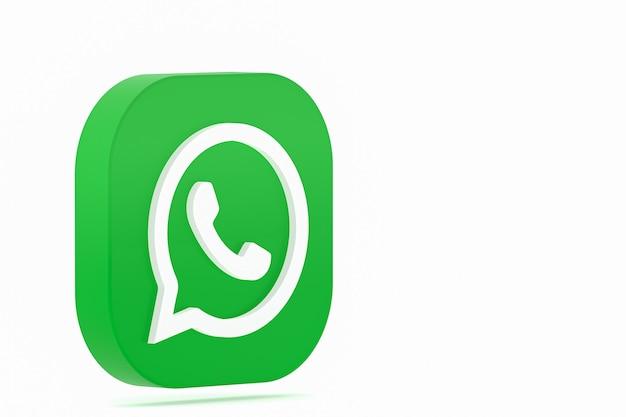 Grünes logo-symbol 3d der whatsapp-anwendung rendern auf weißem hintergrund