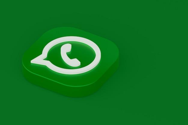 Grünes logo-symbol der whatsapp-anwendung 3d rendern auf grünem hintergrund