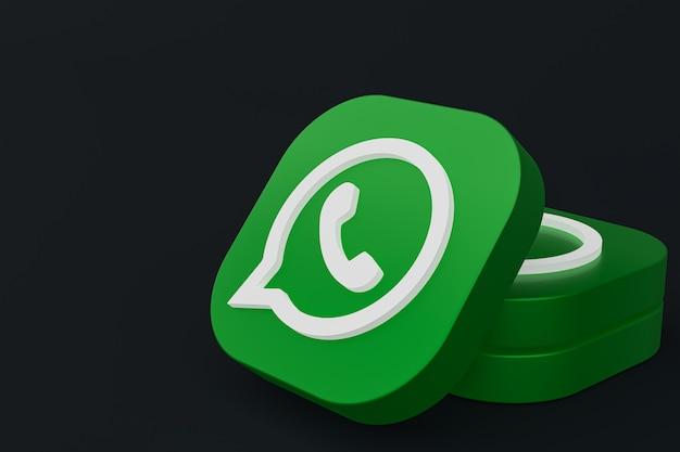 Grünes logo-symbol der whatsapp-anwendung 3d rendern auf schwarzem hintergrund