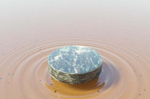 Grünes marmorprodukt steht auf kristallklarem wasser mit wellen darunter. 3d-rendering