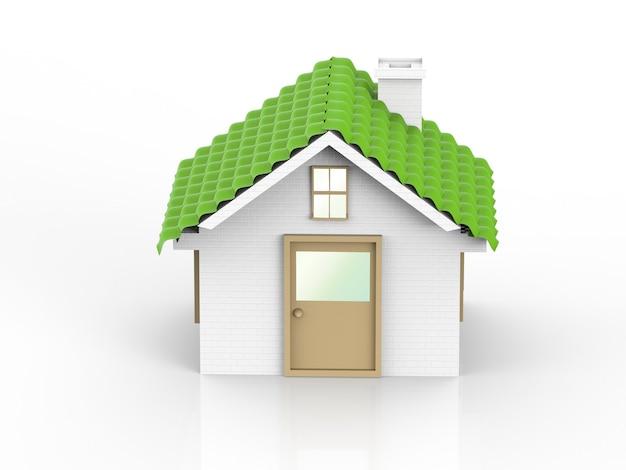 Grünes modellhaus oder musterhaus auf weißem hintergrund