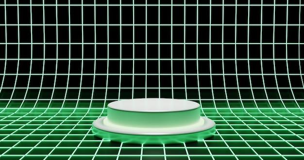 Grünes neonpodest mit neon-drahtgitterhintergrund