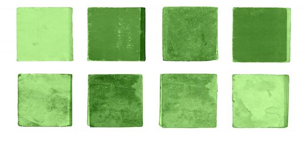 Grünes notizbuchset. lokalisierte sammlung der grünen bücher