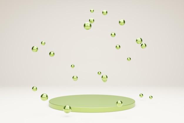 Grünes podium für produktpräsentation mit metallischen blasen 3d-rendering-szene in ruhiger pastellfarbe