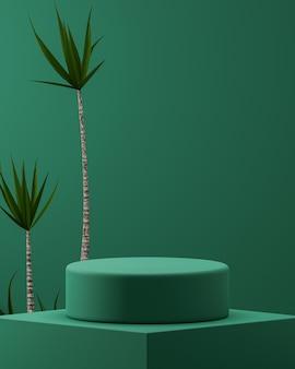 Grünes podium mit tropischem baumhintergrund für produktplatzierungs-3d-rendering
