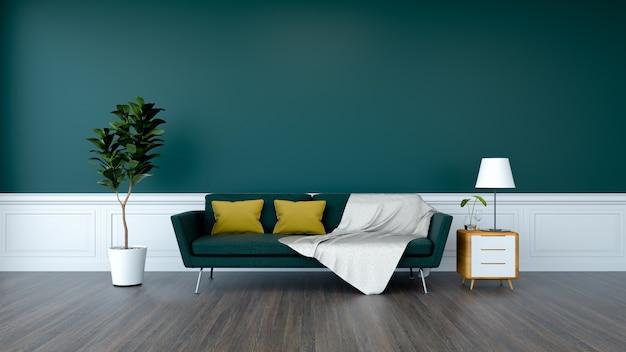 Grünes sofa und anlage mit hölzernem kabinett auf hölzernem bodenbelag und grüner wand / 3d übertragen