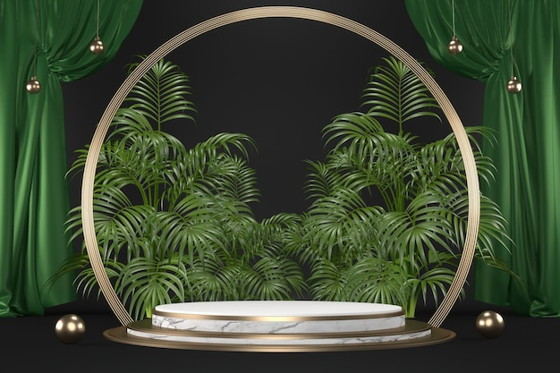 Grünes tropisches granitpodium geometrische und pflanzendekoration auf schwarzem hintergrund .3d-rendering