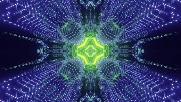 Grünes und blaues gefärbtes muster des futuristischen science-fiction-tunnels in der dunkelheit 3d illustration