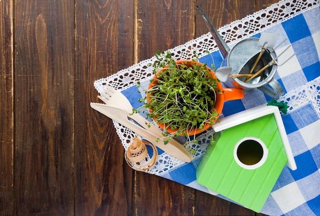 Grünes vogelhaus, sprossen von mini-grün in orangefarbener tasse und biologisch abbaubare gabel und messer aus natürlichem öko-recycling, wiederverwendbares material