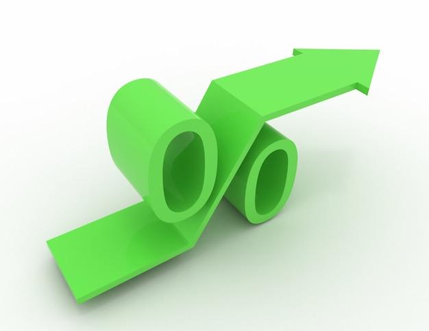 Grünes wachsendes prozentzeichen mit steigendem pfeil. 3d-render-illustration
