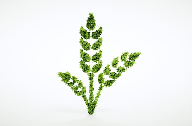 Grünes weizenzeichen lokalisiert auf weißem hintergrund. 3d-darstellung.