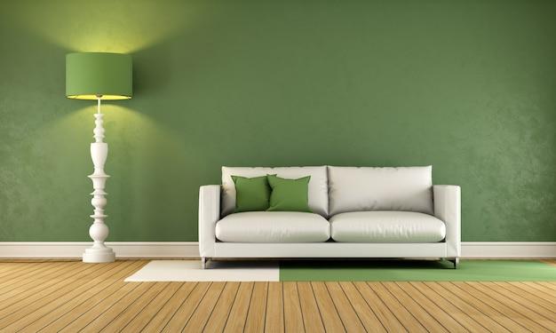 Grünes wohnzimmer mit weißem sofa auf holzboden