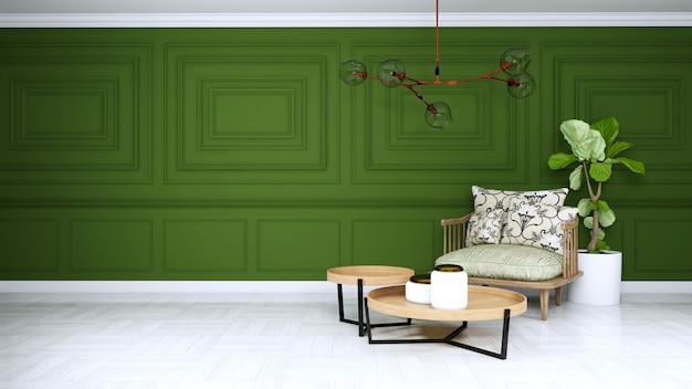 Grünes wohnzimmer