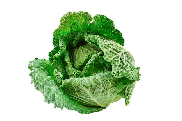 Grünkohl isoliert auf weißer oberfläche.