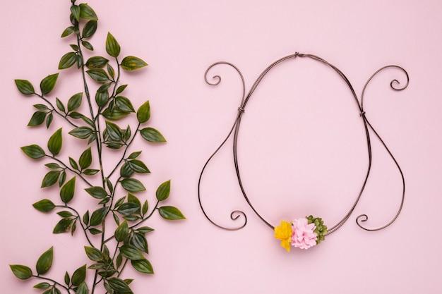 Grünpflanze mit blättern nahe dem ovalen rahmen gegen rosa hintergrund