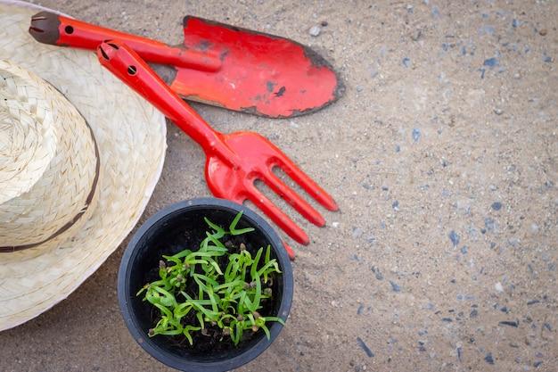 Grünpflanzen im topf mit landwirtschaftlichen geräten wie löffelgabel und strohhut auf dem boden