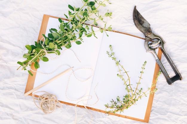 Grünpflanzezweige in der nähe von gartenschere, bleistift und notizbuch