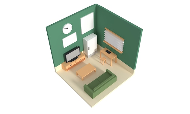 Grundriss einer wohnung. erdgeschoss. klare 3d-innenarchitektur