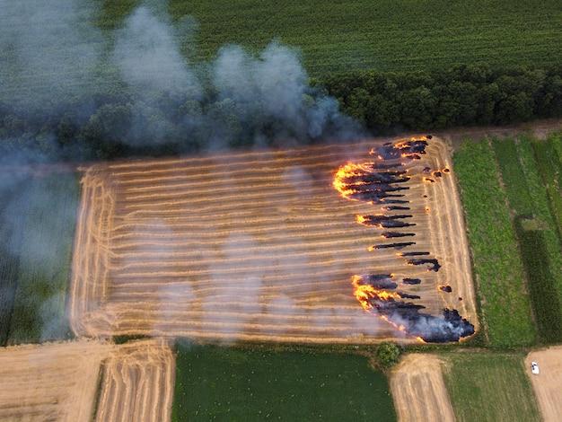 Grundstück mit stroh, feuer auf dem feld, verbrennung von strohresten, umweltverschmutzung durch die luft