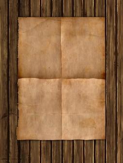 Grunge artpapier auf einer hölzernen beschaffenheit