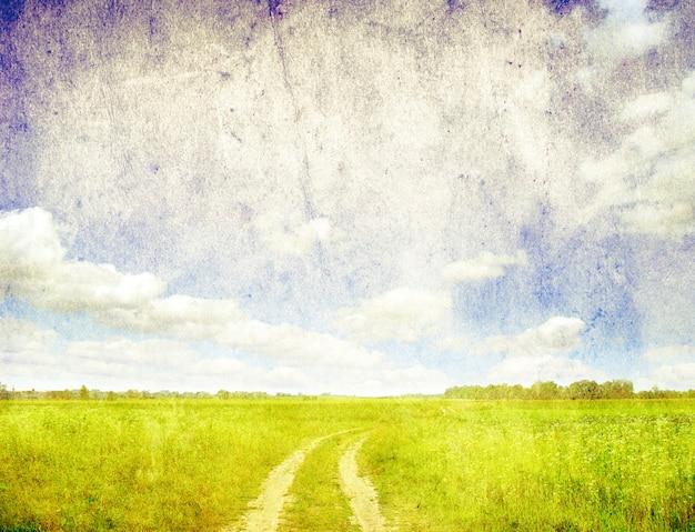 Grunge bild von grüner wiese und blauem himmel