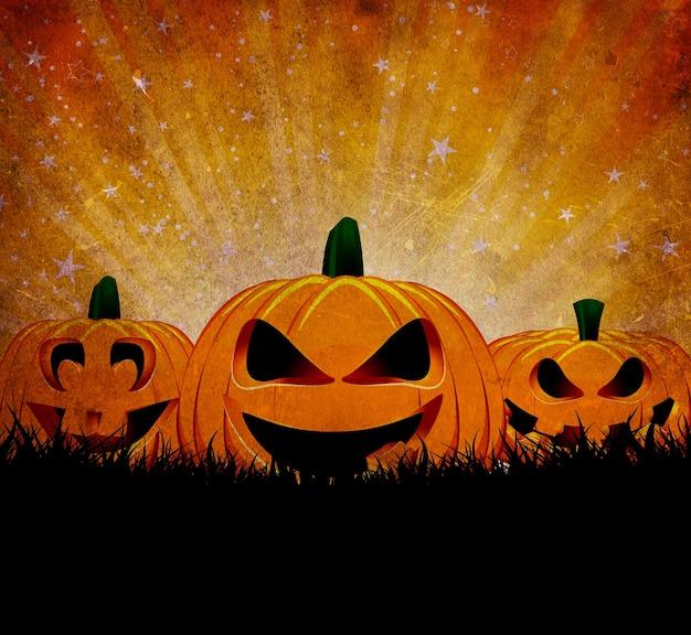 Grunge halloween-hintergrund mit gruseligen jack o lanterns