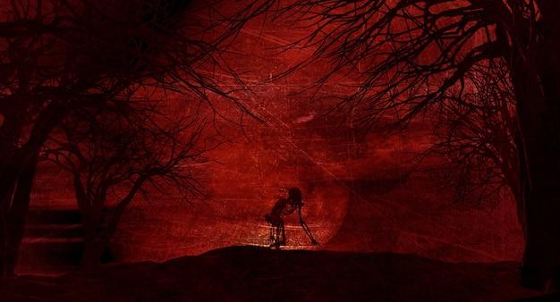 Grunge halloween-landschaft mit gruseligem skelett gegen einen mondbeschienenen himmel