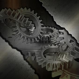 Grunge hintergrund mit bild von zahnrädern und gebürstetem metall