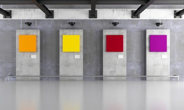 Grunge kunstgalerie mit bunter leinwand