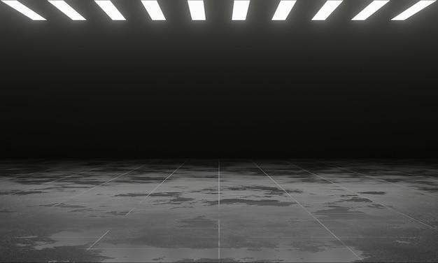Grunge metallboden mit led-panel licht