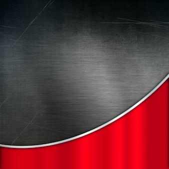 Grunge metallhintergrund mit einer roten gebürsteten metallstruktur