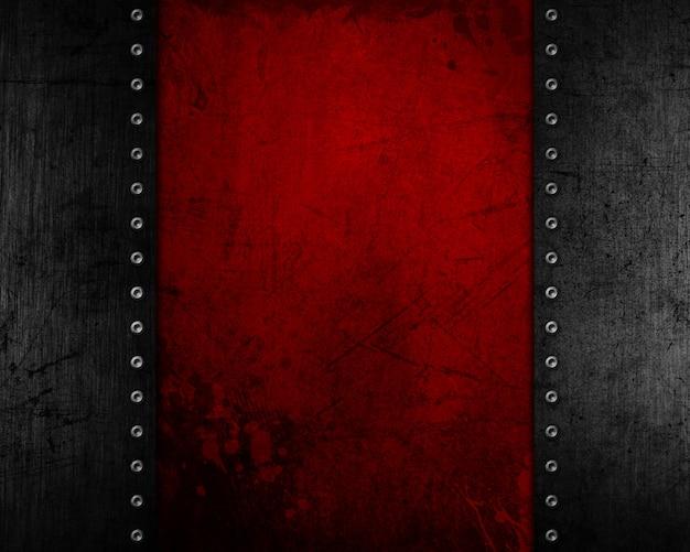 Grunge metallhintergrund mit roter beunruhigter beschaffenheit