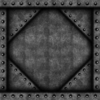Grunge mit metallstruktur und nieten