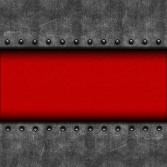 Grunge mit metallstruktur und rotem leder