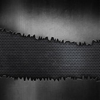 Grunge perforierten metallischen textur hintergrund mit rissigen metall