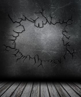 Grunge raum interieur mit geknackt metall wand
