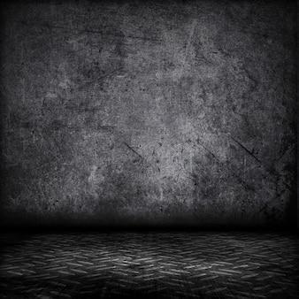 Grunge-Stil Interieur mit Metallplatte Boden