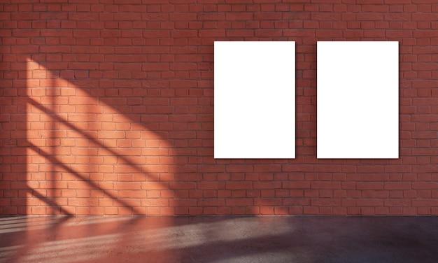 Grungy interieur mit zwei weißen plakatschablone für präsentation.