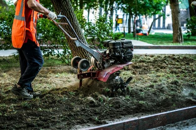 Gruppe arbeiter auf der straße, die boden mit traktor maschine kultiviert, um einige bäume in der stadt im freien zu pflanzen