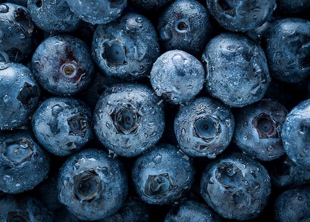Gruppe blaubeeren und tautropfen, draufsichtabschluß herauf fruchthintergrund