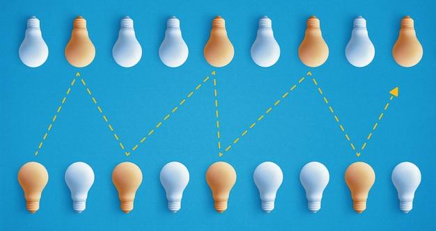 Gruppe der glühbirne hervorragend, anders leuchtend. konzepte für geschäftliche kreativität.