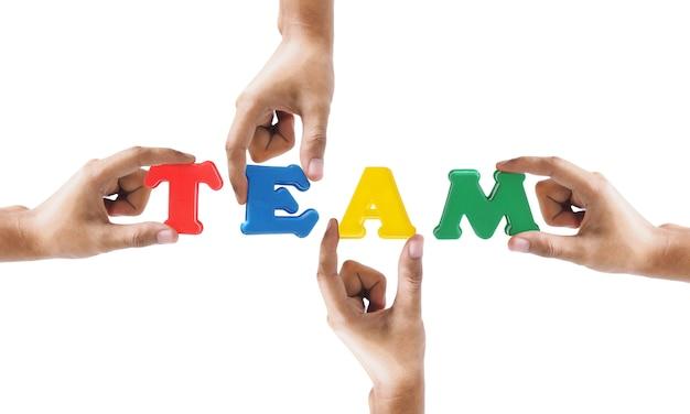 Gruppe der hand wort teamtext halten lokalisiert