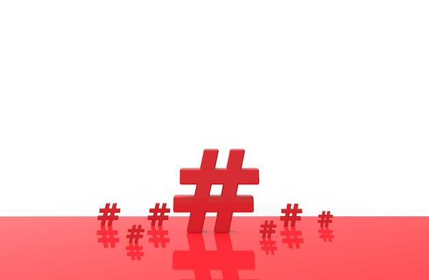 Gruppe der hashtag-ikone lokalisiert. abbildung 3d.