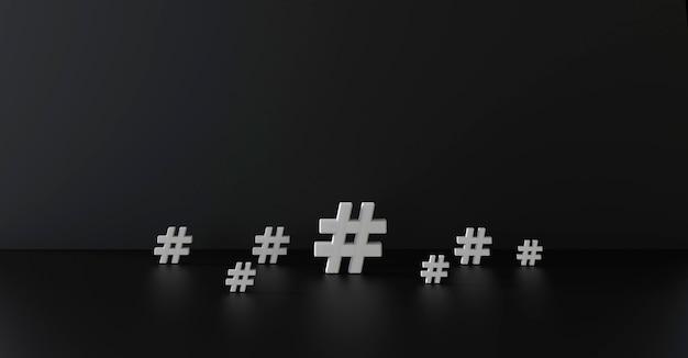 Gruppe der hashtag-symbol im dunklen raum. abbildung 3d.
