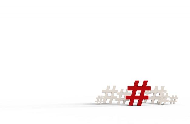 Gruppe der hashtagikone lokalisiert auf weiß