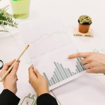 Gruppe der wirtschaftlerhand, die diagramm am arbeitsplatz analysiert