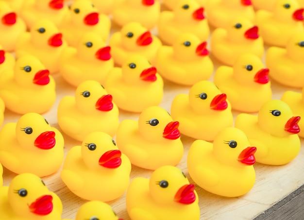 Gruppe des gelben entenspielzeugs des gummis
